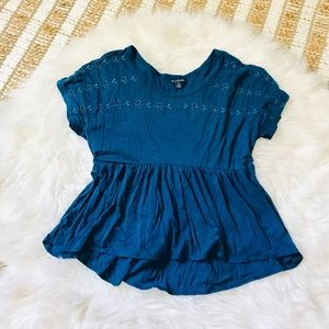 American Eagle Blue peplum blouse